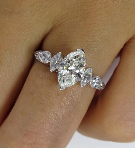 Details about  /4Ct Marquise Cut Diamond Milgrain Art Deco Engagement Ring 14K White Gold Finish