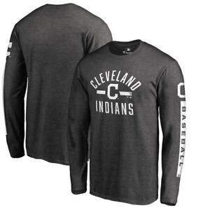 Cleveland-Indians-Logo-Long-Sleeve-T-Shirt-Heather-Grey-Baseball-Lindor-Kluber