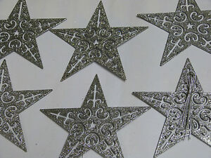 PACK-OF-6-SILVER-BLACK-GLITTER-STARS-CHRISTMAS-TREE-DECORATIONS-9CM-BRAND-XMAS