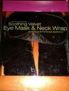 New-Bath-And-Body-Works-Velvet-Spa-EYE-MASK-NECK-WRAP-Green-Merlot-amp-Brown