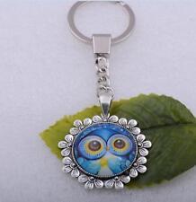 1pcs Fluorescence Owl Cabochon Tibet Silver Glass Chain Pendant Key Ring 47x38mm