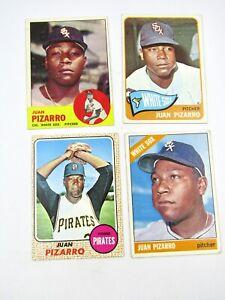 4 x Topps Juan Pizarro Baseball Cards # 19, 125, 160, 335 Good Condition