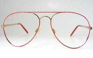 Vintage Red Gold Aviator Pilot Eyeglass Frame USA Top Gun 1980's Retro RX NOS