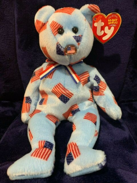 TY Beanie Baby - UNION the Bear (w/ USA Flag Nose) 2003, NWT, Free Shipping
