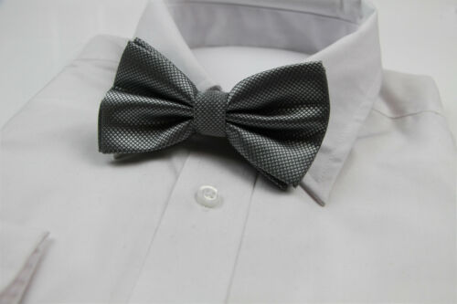 MENS CHECKERED GREY BOW TIE Pretied Wedding Formal Silver Metallic Gunmetal