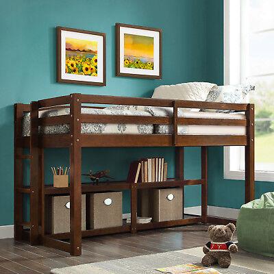 Loft Bed Kids Twin Bunk Over Storage Beds Bedroom Furniture Shelves Wood  Brown 65857176766 | eBay
