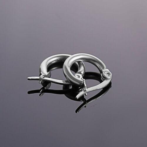 316L Stainless Steel Vintage Silver Big Circle Hoop Earrings Women Punk Ear Clip