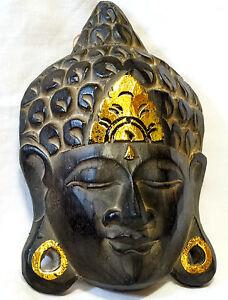 Bouddha en Bois Masque Statue 19 cm boudha Buddha bouda wooden budda doré KbPxdBW1-09084251-378859754