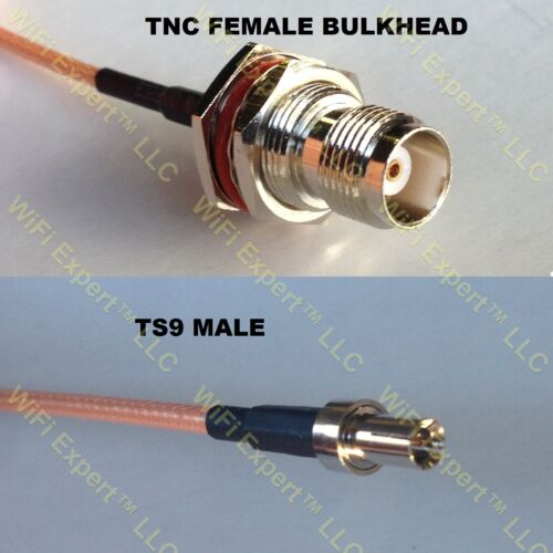 USA-CA LMR100 TNC FEMALE BULKHEAD to TS-9 MALE Coaxial RF Pigtail Cable
