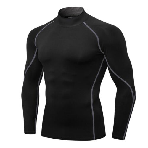 New Men T-Shirt Quick Dry Fitness O Neck Long Sleeve Slim Sport Compression Tops
