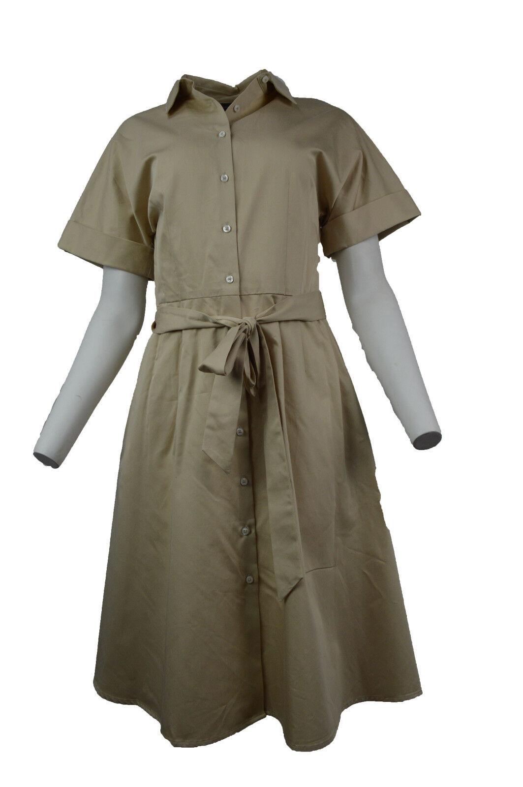 Brooks Brothers damen Beige Cotton Button Down Belted Shirt Dress Sz 6 2894-2