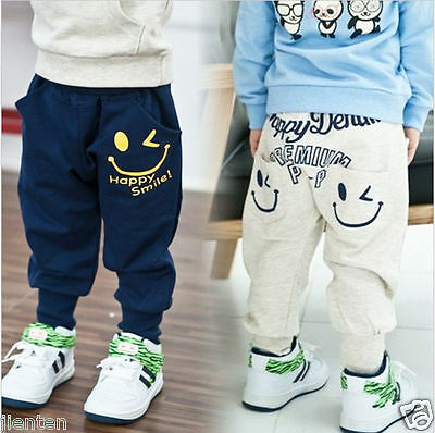 Toddler Baby Boys Cotton Cartoon Smile Pattern Harem Pants Casual Long Trousers