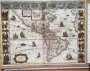 Antique vintage Colour Blaeu Map of the New World, America, 1600\'s ...