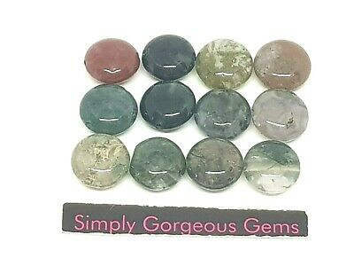 12 Gorgeous Coin Shaped Indian Agate Gemstone Beads 10 mm