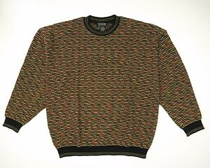 Tosani Canada Textured Funky Multi Color Vintage Sweater Mens Large