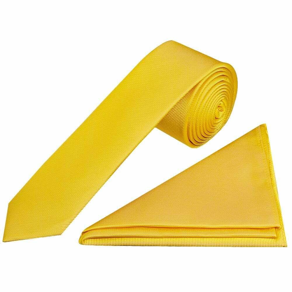 Essentials Yellow Twill Skinny Silk Men's Tie and Pocket Square Set Wedding Tie