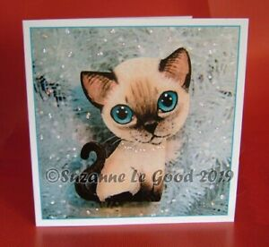 Siamese-Cat-kitten-painting-Christmas-card-glitter-from-original-Suzanne-Le-Good