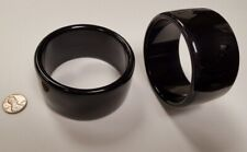 VINTAGE ITALIAN JET BLACK LUCITE ACRYLIC 39mm. WIDE BANGLE BRACELET V757