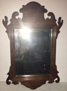Beautiful Vintage Petite Chippendale Walnut Mirror Original Beveled Glass