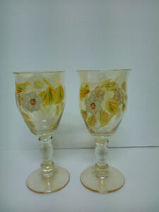 Set Of 2 Cups Wine Of Glass, Exclusives Hand Painted Hand