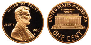 1996-S-Proof-Lincoln-Memorial-Cent-Penny-Deep-Cameo-FREE-SHIPPING