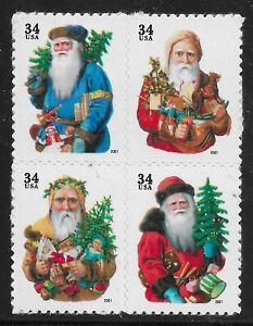 US-Scott-3537a-40a-Bloque-de-4-2001-Navidad-34c-VF-MNH