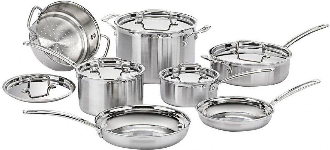 Cuisinart MultiClad Pro inoxydable Cookware Set résistant à la chaleur Poignée - 12 pièces