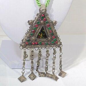 Vintage-tribal-belly-dance-handmade-Kochi-Banjara-pendant-green-cord-necklace