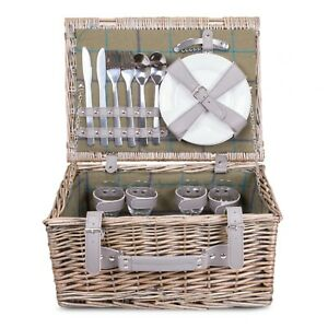 Wickerfield 2 or 4 Person Traditional Picnic Wicker Hamper Willow Basket