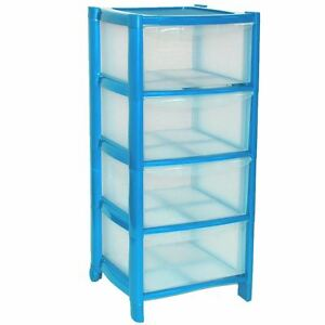 Image Is Loading 4 Drawer Blue Plastic Large Tower Storage Drawers