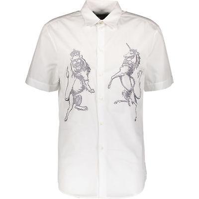 70% Di Sconto John Richmond Bianco Ricamato Manica Corta Camicia M It48-