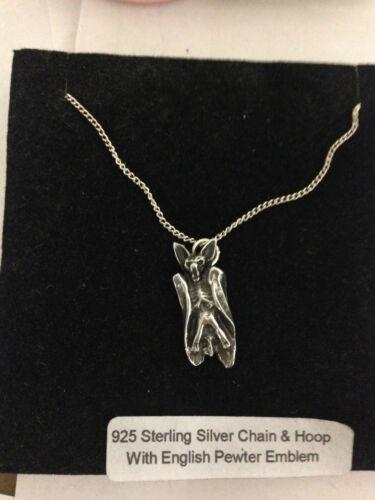 Bat R146 emblema en un collar de plata esterlina 925 16,18,20,26,30