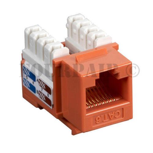 Orange CAT6 Network RJ45 110 Punch Down Keystone Snap-In Jack 100 Pack Lot