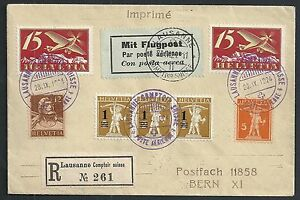 Switzerland covers 1924 Airmailcover LAUSANNE CAMPTOIR SUISSE to Bern