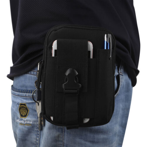 Black Sport Men Tactical Waterproof Waist Pack Purse Mini Small Bag