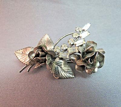 VTG Carl Art CA Sterling Silver Rhinestone Flower Rose Brooch Pendant Baguette