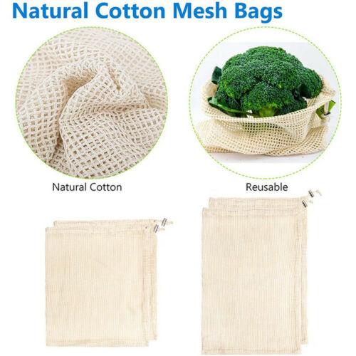 Reusable Mesh Bag for Grocery Shopping Fruit Vegetable Toys Storage Washable 2pc
