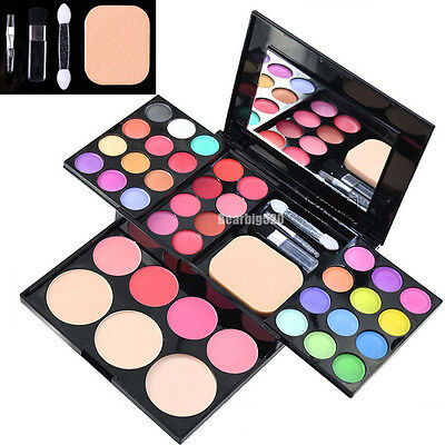 ADS Color Eye shadow Lipstick Blusher Powder Puff Brush Pen Tool Make Up Kit Set