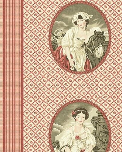 In the Manor Cameo Lady Woman Red Cotton Quilting Sewing Fabric