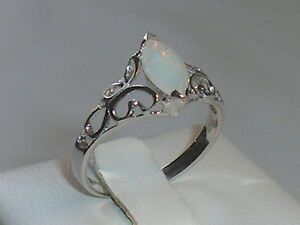 Hand-Made-Ladies-Victorian-Design-925-Solid-Fine-Silver-Opal-Solitaire-Ring