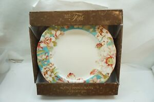 222 FIFTH DINNER PLATES MARLEY TEAL PATTERN SET 4 ROUND NEW IN BOX ...