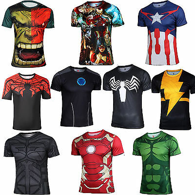 Mens Heroes Compression Sports Wear Running T-Shirts Sweatshirt Costume Jersey