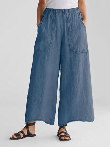 Pants Casual Oversize Elastic Waist Baggy Harem Trousers Women Wide Legs