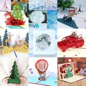 Christmas-3D-Up-Greeting-Cards-Claus-Santa-Deer-Snowflake-Card-Holiday-2019