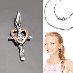 Kette Silber 925 Design Zirkonia Kreuz Anhänger zur Taufe Kommunion Rosè Gold