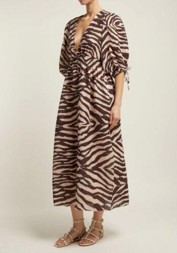 Zimmermann Shirred zebra-print linen midi dress