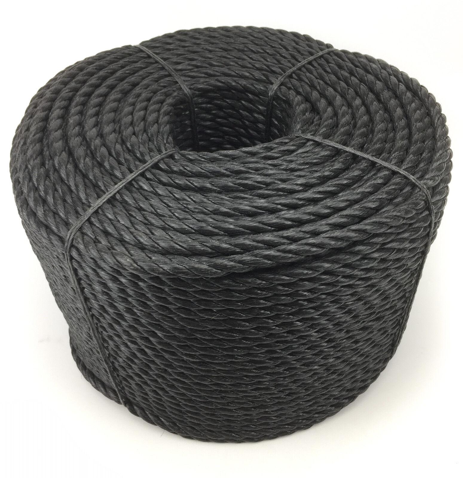 28mm schwarz Polypropylen Seil x 50 Meter, Poly-Seil Rollen, preiswert Nylon