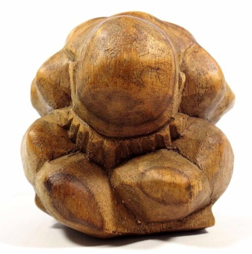 Weeping Buddha Crying Man Sculpture Hand Carved Wood Figure 4 inch 10 cm Tall