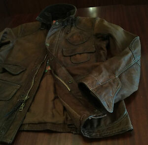 New-Polo-Ralph-Lauren-Distressed-Leather-Jacket-Cowhide-Antique-Brown-Men-s-M