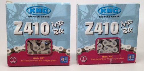 "TWO KMC Z410NP BK BIKE CHAINS 1//2/""x1//8/"" 112L SINGLE SPEED BMX CRUISER FIXED Z410"